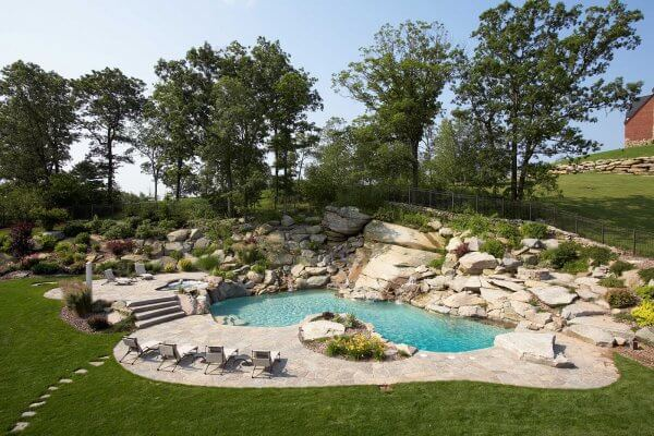 Inground Gunite Swimming Pool Featuring Spa & waterfall