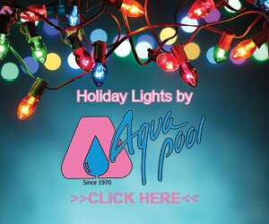 holiday lights by Aqua pool